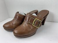 Coach Brown Clogs Logo Monogram Heels Mules Size 8.5 Shoes