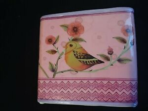 Beautiful Ceramic and Glazed Birds and Floral Planter Pot Pink