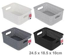 6 Rectangle Multi Purpose Plastic Storage Basket Wicker Pattern Organisation VIC