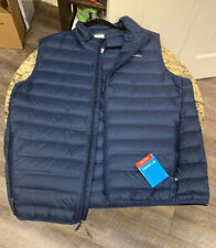 COLUMBIA Lake 22 Heat Seal 650 Fill Down Vest Men's Size XL Blue Puffy NWT