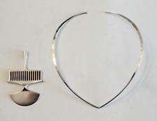 Vintage David Andersen Sterling Mid Century Modernist Pendant Hammered Neck Ring