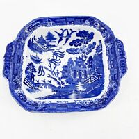 Vintage Antique E.B. & J.E.L. England Blue Willow Square Vegetable Serving Bowl