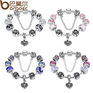 European Fashion Bracelet With Heart Charm Murano Beads For Women DIY Jewelry