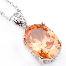 Gift For Family Oval Natural Honey Morganite Platinum Plated Necklace Pendants
