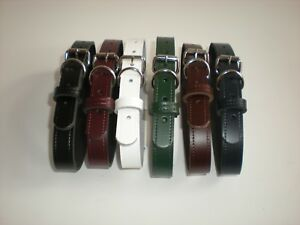 Real leather dog collars 8 colours available slight seconds flame red & tan also