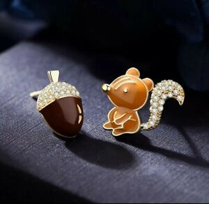 French Enamel Squirrel & Acorn Earrings Stud Birthday Christmas mum 531