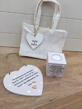 Shabby Personalised Chic Nanny Grandad Nana Grandparents Candle & Heart Gift Set