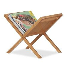 Bamboo Magazine  Handles Compact Freestanding with Holder Newspaper Rack Natural
