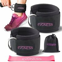Ankle Straps for Cable Machines and Resistance Band Plus Carry Bag by EVONESS
