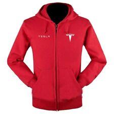 Tesla Men Casual Zip Hoodie Sweatshirt Fashion Elon Musk Long Sleeve Cotton Soft
