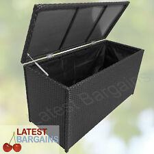 Outdoor Rattan Storage Box Garden Chest Patio Waterproof Black Furniture
