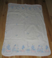 VINTAGE RECEIVING HOSPITAL BABY BLANKET COTTON FLANNEL ZOO CIRCUS ANIMAL TRAIN