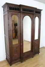 Kleiderschrank Bretagne dreitürig Dielenschrank Kastanie massiv Spiegel Antik