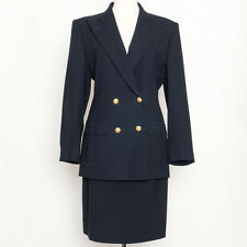 Ralph Lauren Navy Wool Double Breasted Suit Brass Buttons Size 8