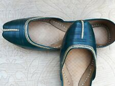 GREEN  LADIES INDIAN LEATHER WEDDING KHUSSA SHOES   SIZE 4