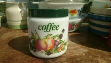 Vintage CLP Coffee Jar Canister 1970/80s Fruit and Berries Milk Glass - VGC