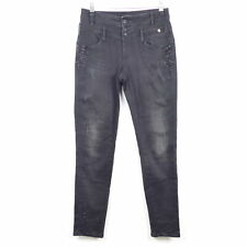 TREDY Jeans Black Denim Nieten Stretch Schwarz  Gr. 40