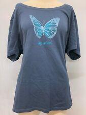 """New Life is Good Women's Short Sleeve """"Butterfly"""" T-Shirt, Blue, Medium"""