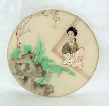 ANTIQUE CHINESE HAND PAINTED PLAQUE WHITE MARBLE STONE