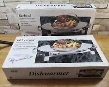 DOUBLE FOOD DISH WARMER CHROME PLATE BURNER HEAT WARM x 2