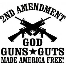 God Guns Guts Die Cut Decal Sticker Car TRUCK USA 2A 4X4 Ammo Smith AR 15  YETI