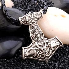 Mens Nordic Viking Mjolnir Pendant Leather Cord Myth Thor's Hammer Necklace