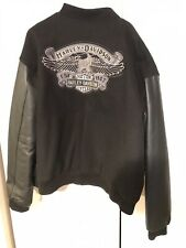 Harley Davidson 3xl Letterman Jacket Black Wool Leather Quilted Full Zip VHTF