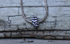 Murano Glass Zebra Bead with 20cm Silver Plated Snake Chain New Jewelry