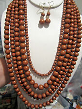 Five Layers Brown Lucite Bead Necklace earring Set