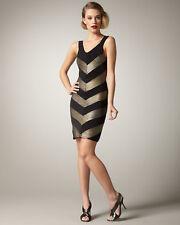 Alice + Olivia Vida Black Metallic Gold Chevron Stripe Tank Dress - Small