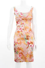 D&G DOLCE & GABBANA Pink Orange Green Floral Tropical Print Satin Dress 2/38/S
