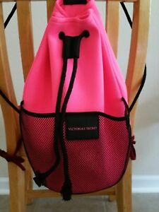 Victoria Secret drawstring backpack bag Mesh Pocket tassel Black Pink