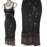 Karen Millen Black Beaded Gatsby Flapper Vintage Style 20's Party Dress sz1 8/10