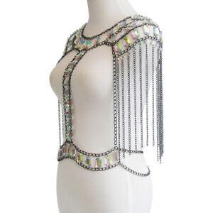 Fashion Tassel Crystal Shoulder Body Necklace Chain Harness Bikini Jewelry