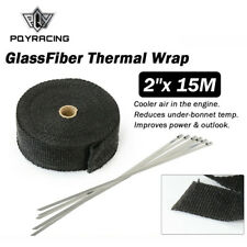 """2""""x 50ft Thermal Header Pipe Tape Exhaust Wrap Manifold Pipe Heat Shield 15m"""