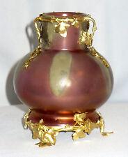 Vase Faience Irisée Epoque Art Nouveau Bronze Doré Montieres Rambervilliers XIX