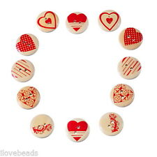 50PCs Mixed Wooden Buttons Red Heart Pattern Fit Sewing DIY Scrapbook 20mm