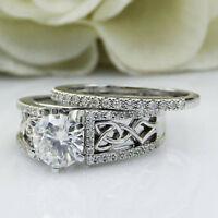 2.50 Ct Round Cut Diamond Celtic Knot Bridal Band Ring Set 14K White Real Gold