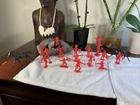 MARX 14 INDIANS + TOTEM POLE VINTAGE FORT APACHE PLAYSET FIGURES RED Rare+Horses