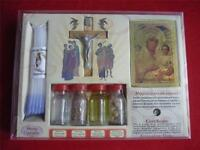 SET OF BLESSED HOLY WATER,SOIL,OIL,INSENCE HOLY CANDLE SAINT ICON & CROSS