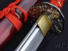 Hand Forged Sharp Japanese Sword Red Dragon Tsuba Katana + Customization