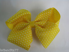Large 5in. Hair Clip Yellow Bow with White Dots Metal Clip NWT
