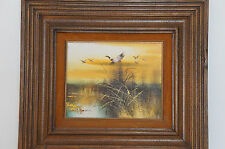 Vintage Framed Oil Painting on Canvas Landscape Geese Birds Lake River Martin