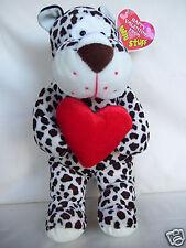 "Happy Valentine From Win Stuff Animal Print Dog With Heart 14"" Plush Dog"