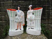 Antique pair of flatback Staffordshire figures - Scottish dress ceramic 19thc