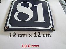 Hausnummer Emaille Nr. 81  weisse Zahl auf blauem Hintergrund 12 cm x 12 cm