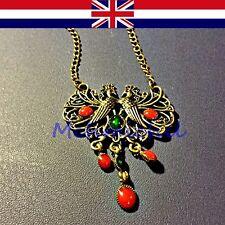 Vintage Style Rhinestone Double Peacock Pendant 68 cm Long Necklace UK Seller