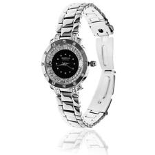 New 18K White Gold Plated Woman's Luxury Watch Black Face w/ Crystals by Matashi