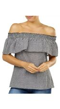Off Shoulder Top Peasant size 14 womens Gingham mono Black White rockabilly NWT