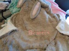POTTERY Barn Kids velour bunny terry bath wrap nursery baby bunny mono Beatrix
